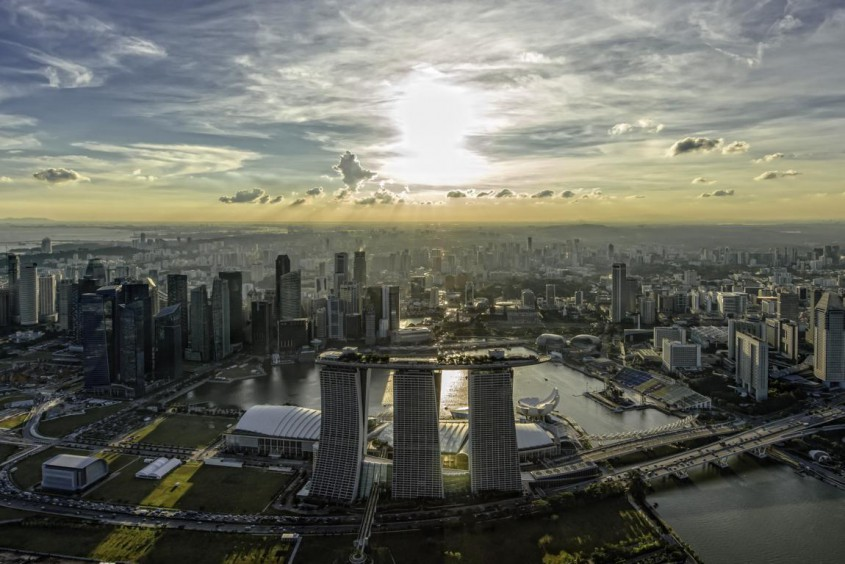 Aerial view of Marina Bay Sands and Singapore