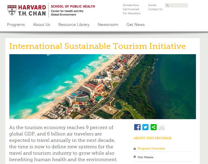 Screenshot International Sustainable Tourism Initiative at Harvard University