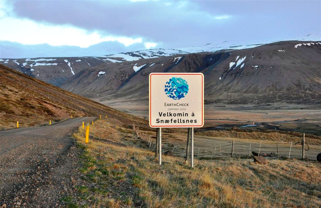 EarthCheck sign in Snaefellsnes, Iceland