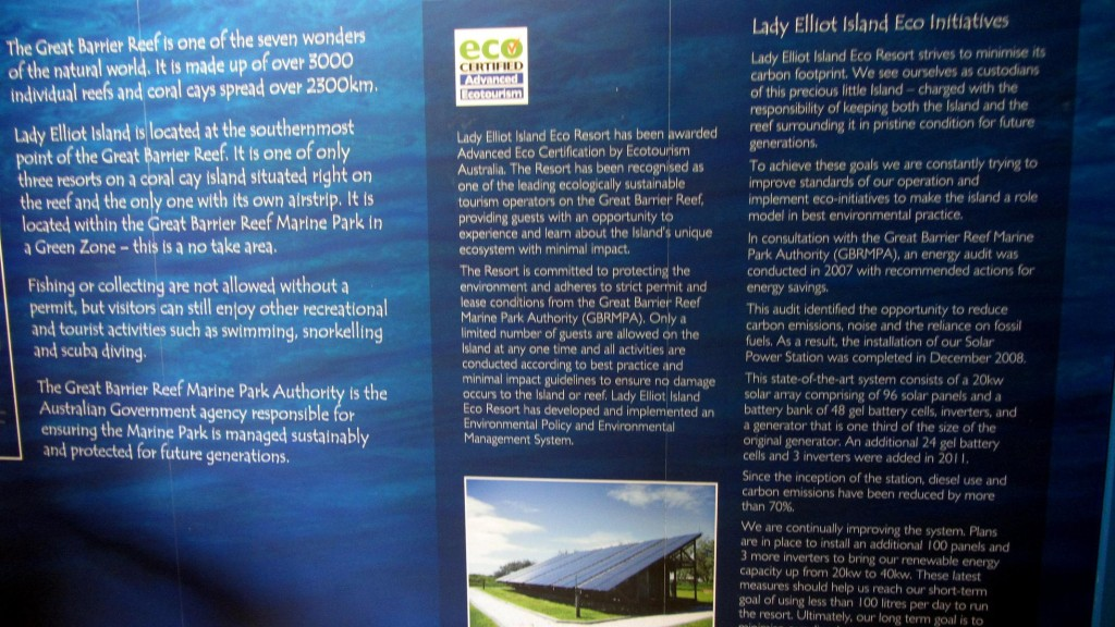 Communicating sustainability at Lady Elliot Eco Resort, Australia
