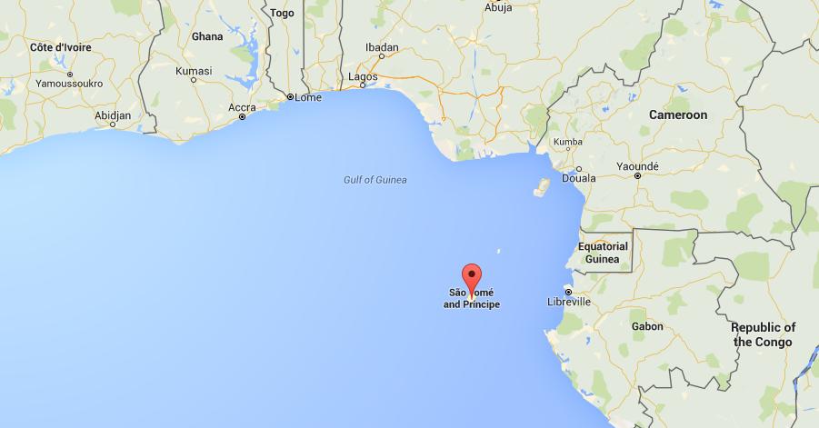 Localización Santo Tomé y Príncipe en África Occidental