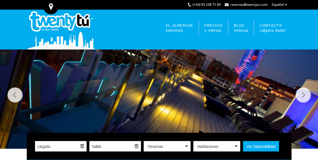 Twentytú Hi-tech Hostel Barcelona Website