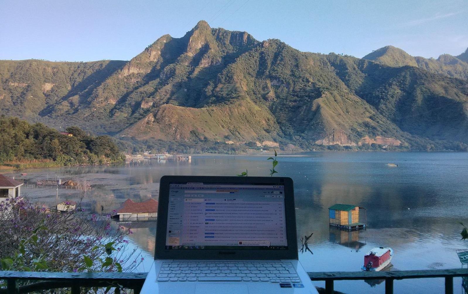 Florie working from Guatemala, Lago Atitlan