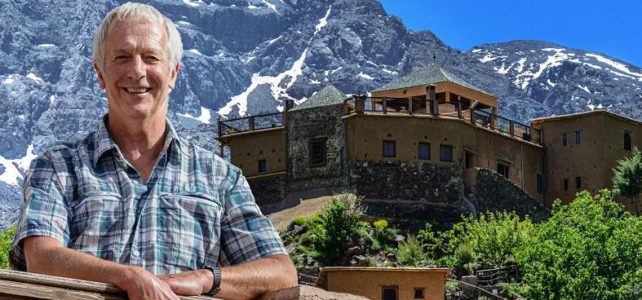 Mike McHugo in front of Kasbah du Toubkal in Morocco