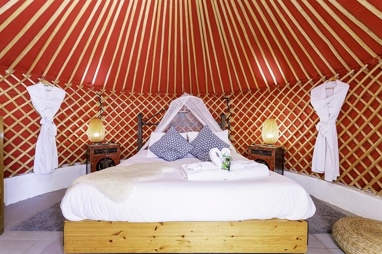 Inside a yurt at Lanzarote Retreats eco village